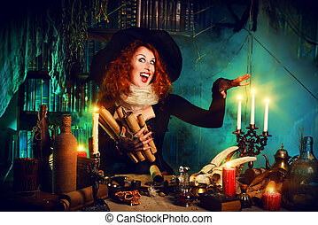 halloween - Attractive witch in the wizarding lair....