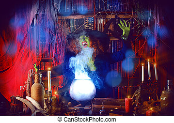 witchcraft - Fairy wicked witch in the wizarding lair....