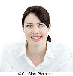 Close-up of a smiling businesswoman