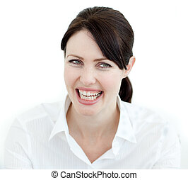 Close-up of a laughing businesswoman