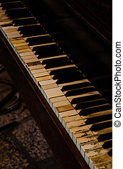 old piano - detail of keyboard of old aged piano