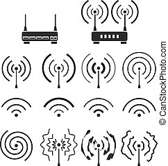 Collection of wifi and wireless signal wave