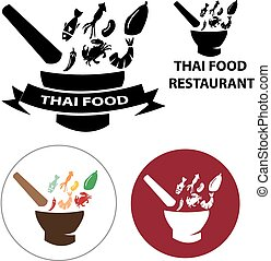 Set of Thai Food restaurant logo