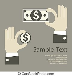 Hand holding money sign, business concept, vector...