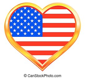 USA flag in heart - USA flag in the heart gold frame