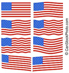 USA flag set - Flag collection of the United States of...