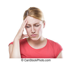 Headache - Woman puts hand on the head, isolated on white...