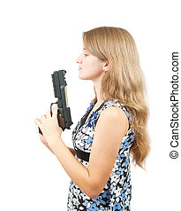Shot of a beautiful girl holding gun over white