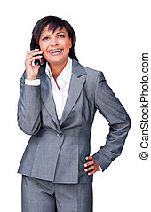 Hispanic businesswoman on phone against a white background