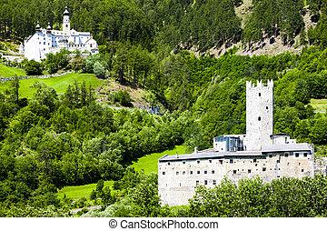 Monte Maria Abbey and castle near Burgusio, Trentino-Alto...