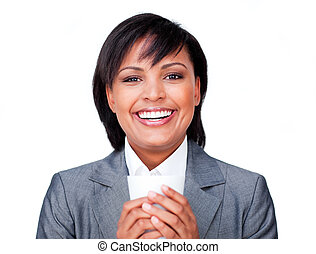 Hispanic businesswoman holding a coffee