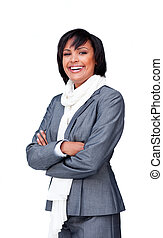 Portrait of an attractive businesswoman wearing a white...