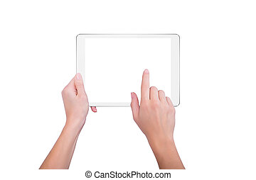 Girl holds a plate and tap the screen
