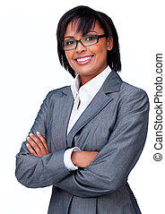 Businesswoman with folded arms wearing glasses