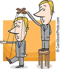 puppet businessman concept cartoon - Concept Cartoon...