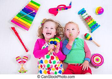 niños, con, Música, instruments.,