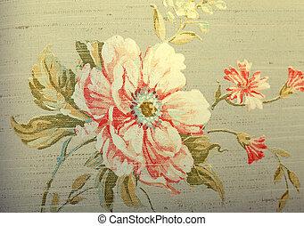 marrón, andrajoso, patrón, papel pintado, vendimia, floral,...