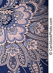 Vintage blue wallpaper with paisley pattern - Detail of...