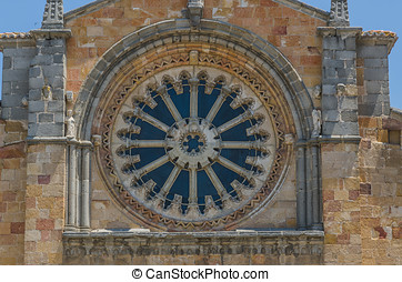 San Pedro rose window - Rose window in San Pedro church,...