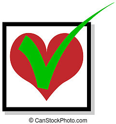 Love to checkmark - Illustration checkmark love on a white...