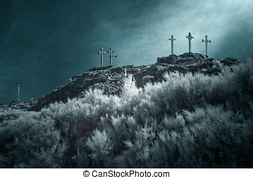 Hill of the crosses - Christian crosses on the top of a...