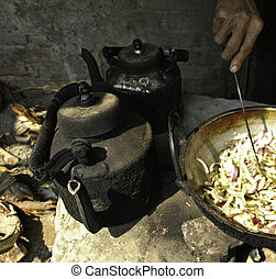 Street stall, Bangladesh - Black kettle and frying onions