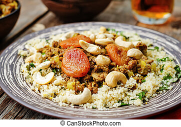 Spiced mince with dried apricots, cashew nuts and couscous...