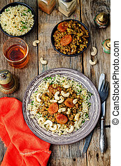 Spiced mince with dried apricots, cashew nuts and couscous....