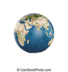3d globe Earth texture on soccer ball isolated on white...
