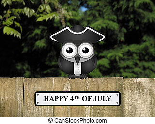 Happy 4th of July - Comical bird with happy 4th of July...