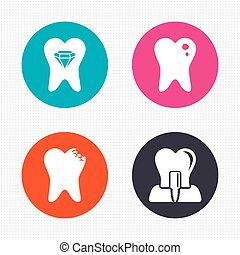 Dental care icons Caries tooth and implant - Circle buttons...
