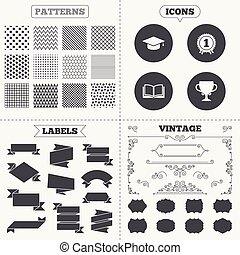 Graduation icons Education book symbol - Seamless patterns...