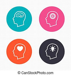 Head with brain icon Male human symbols - Circle buttons...