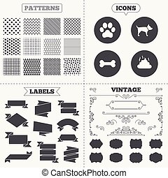 Pets icons Dog paw and feces signs - Seamless patterns Sale...