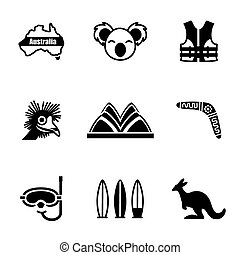 Vector Australia icon set on white background