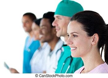 Un, médico, grupo, actuación, diversidad,...