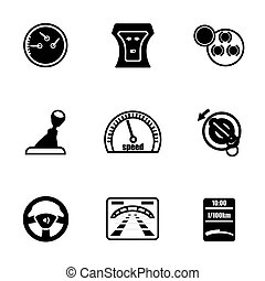 Vector Car dashboard icon set on white background