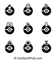 Vector CD icon set on white background
