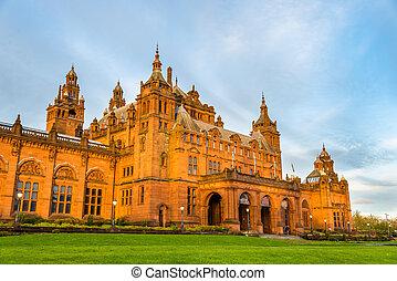 arte, Escocia, museo,  Kelvingrove,  -, galería,  Glasgow