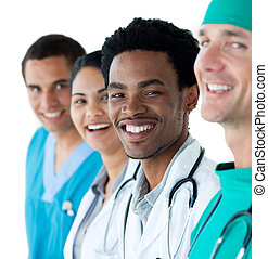 Young medical people against a white background - Young...