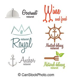 Set of logo and logotype elements for restaurant, cafe or bar