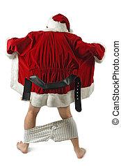 Santa flasher - Santa Claus opening his coat and flashing.