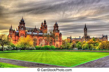 Kelvingrove, museo, y, Glasgow, universidad, -, Escocia,