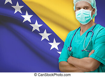 Surgeon with flag on background series - Bosnia and...