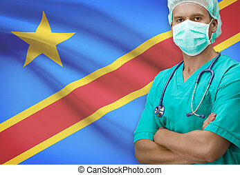 Surgeon with flag on background series - Congo-Kinshasa -...
