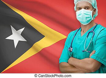 Surgeon with flag on background series - East Timor -...