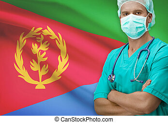 Surgeon with flag on background series - Eritrea - Surgeon...