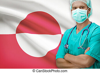 Surgeon with flag on background series - Greenland - Surgeon...