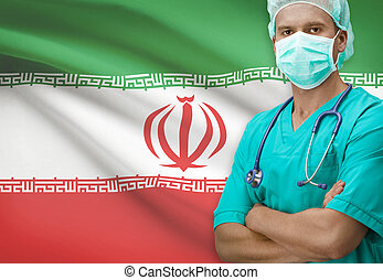 Surgeon with flag on background series - Iran - Surgeon with...