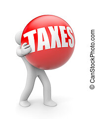 Person with Tax ball - Business concept Isolated on white